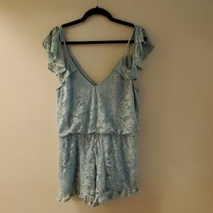 EXPRESS Blue Lace Romper NWT LARGE